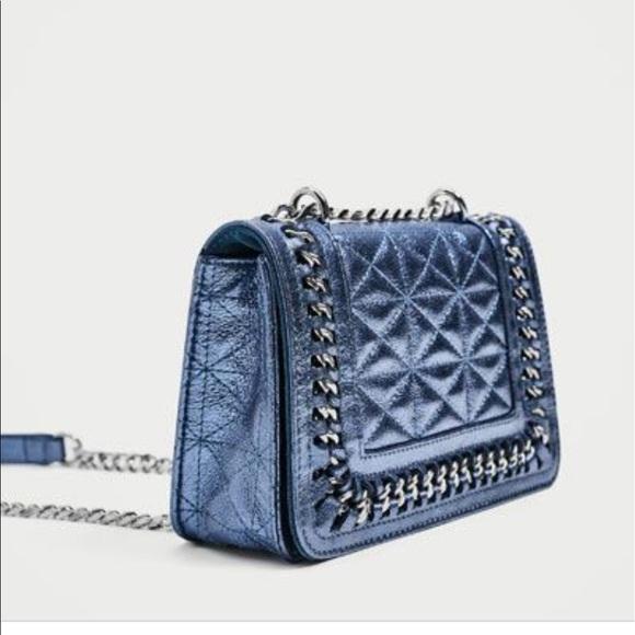 2b505201 NWT! Zara Blue Quilted Mini Crossbody Bag NWT